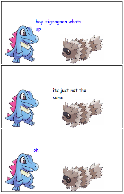 the replacement of wooper by the f'n amazing zigzagoon